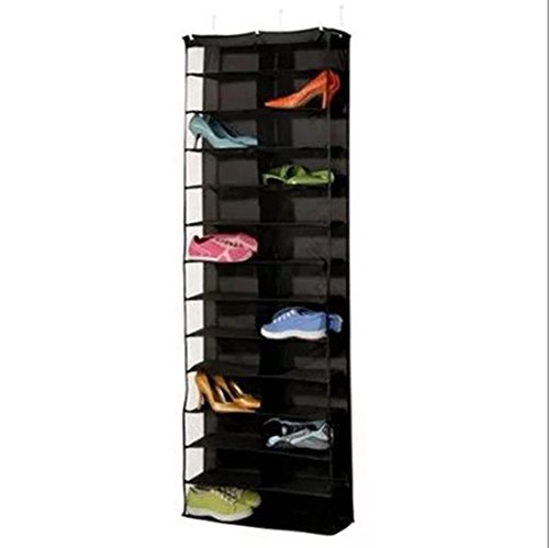 Hever 26 Pockets Over The Door Shoe Organizer See Through Hanging Shoe Shelf