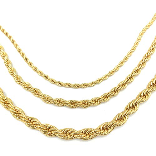 (USENSET 18K Good Plated Twist Rope Chain for Women & Men 4MM Gold Chain Stainless Steel Necklace, 24 inches )