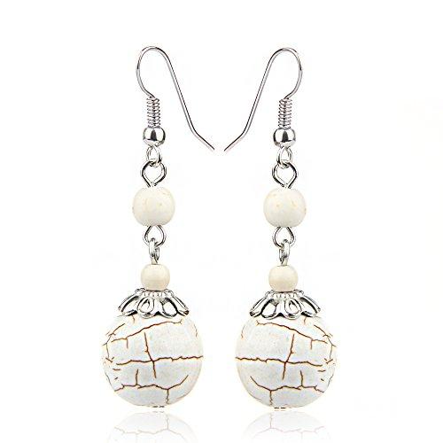 Ball Fish Hook Earrings (ValentoriaVintage Silver Plated Fishhook Alloy Flower Bail Ball Rimous Turquoise Dangle Drop Earrings Gift For Women Girls (White))