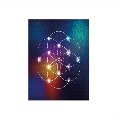 - Decorative Privacy Window Film/Digital Overlapping Circles Grid Geometric Centered on Triangles Esoteric Energy Motif/No-Glue Self Static Cling for Home Bedroom Bathroom Kitchen Office Decor Indigo