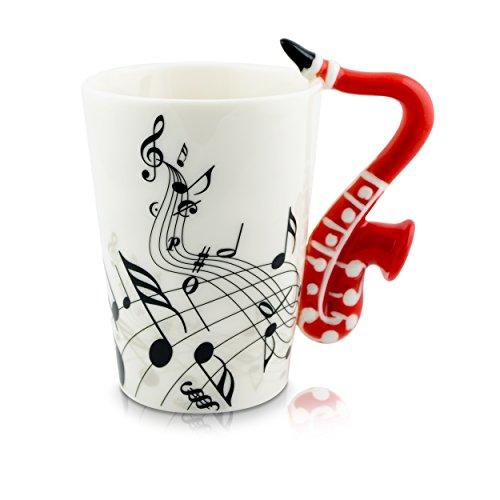 VENKON - Keramiktasse mit Saxophon als Henkel und Noten Verzierung in hochwertiger Geschenkbox - 200ml