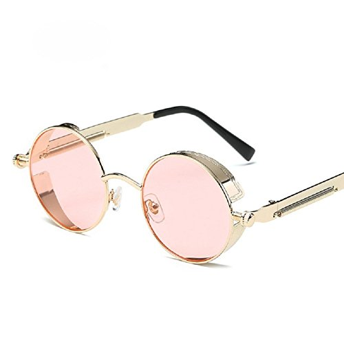 Steampunk UV Men Sunglasses TEMPO Lens Metal Frame Frame Retro Woman Round Protective Polarized Gold Glasses Pink Driving dzwgq0