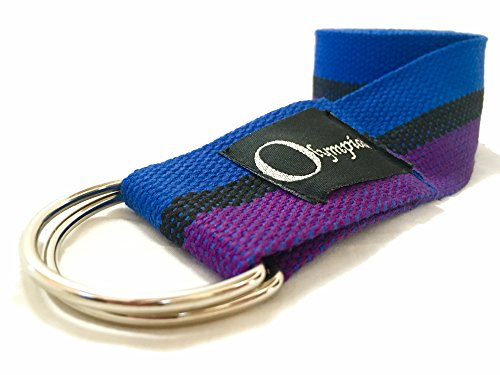 Olympiad Yoga Strap Belt for Stretching   Metal D Ring Buckle   8ft x 2inch E Book Guide Included Professional Studio Quality Wider for Better Stability