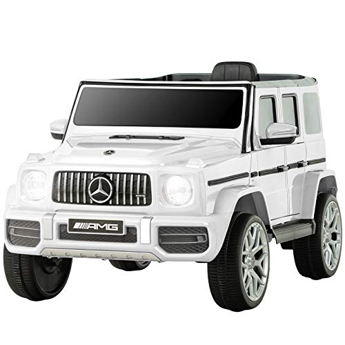 Uenjoy-12V-Licensed-Mercedes-Benz-G63-Kids-Ride-On-Car-Electric-Cars-Motorized-Vehicles-for-GirlsBoys-with-Remote-Control-Music-Horn-Spring-Suspension-Safety-Lock-LED-LightAUX-White