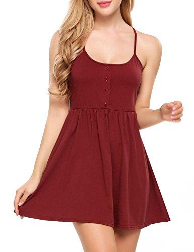 Beyove Women's Sleeveless Adjustable Strappy Summer Beach Swing Dress (Wine Red, (Short Smock)