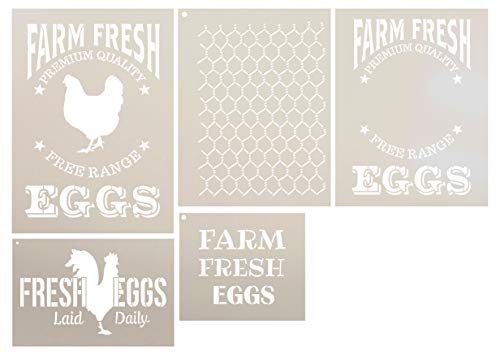Piece 5 Stencil Set - Farm Fresh Eggs Farmhouse Stencil Set - 5 Piece by StudioR12 | Reusable Mylar Template | Use to Paint Wood Signs - Walls - Tables - DIY Kitchen Decor
