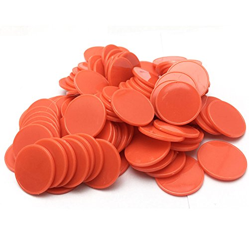 Smartdealspro Set of 100 25MM/1 Inch Opaque Plastic Learning Counting Counters Poker Chips (Red) ()