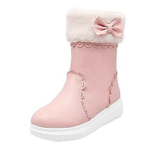 Women's Cute Bow Flats Short Winter Snow Boots