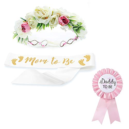 Baby Shower Mom Sash & Flower Crown & Daddy to be Pin Kit - Baby Girl Sash Princess Baby Shower Baby Sprinkle Photo Prop Keepsake Gift (White & Gold) (Daddy To Be Corsage)