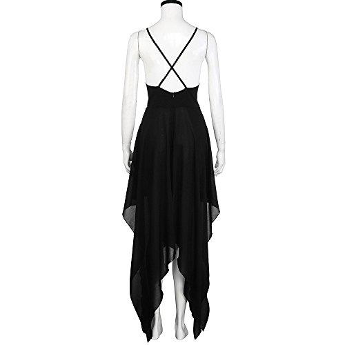 Chanyuhui Femmes Robes En Vente Dame Élégante De Fête Le Soir Sans Manches Ourlet Fendu En V Profond Boho Maxi Longue Robe Noire