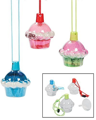 Cupcake Sand Bottle Necklaces Plastic