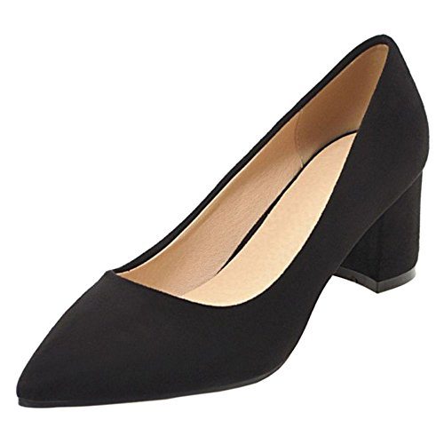 Shoes Court 6CM Women's Heels TAOFFEN Black Toe 31 Pointed 07IaTxt