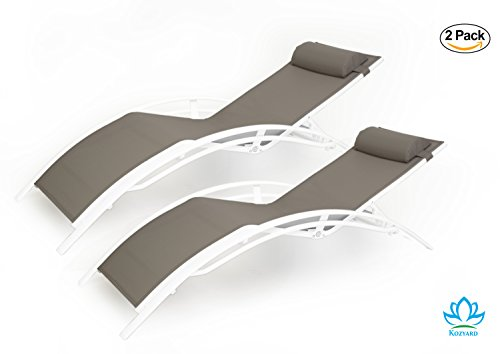 Kozyard KozyLounge Elegant Patio Reclining Adjustable Chaise Lounge Aluminum and Textilene Sunbathing Chair for All Weather with headrest (2 pack), KD,very light, very comfortable (Taupe)