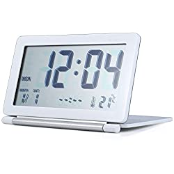 Margoth Multifunction Silent LCD Digital Large Screen Travel Desk Electronic Alarm Clock, Date/Time/Calendar/Temperature Display, Snooze, Folding (white)