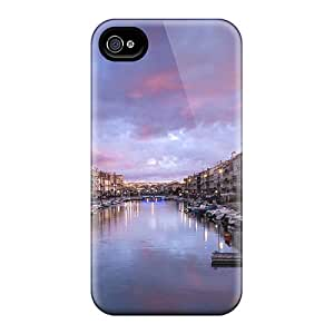 Tpu Case Cover For Iphone 4/4s Strong Protect Case - Dawn On River Through A French Town Design
