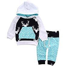 Aliven Toddler Infant Baby Boys Deer Long Sleeve Hoodie Tops Sweatsuit Pants Outfit Set