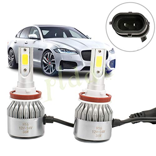 PLDDE 2pcs H16/PSX24W/5201/5202/9009/2504/12276 6000K Cool White 7200LM All-in-One LED COB Bulbs Conversion Kit For Headlights Driving Fog Light DRL Lamp DC 12V/24V IP67 Driver+Passenger Replacement ()