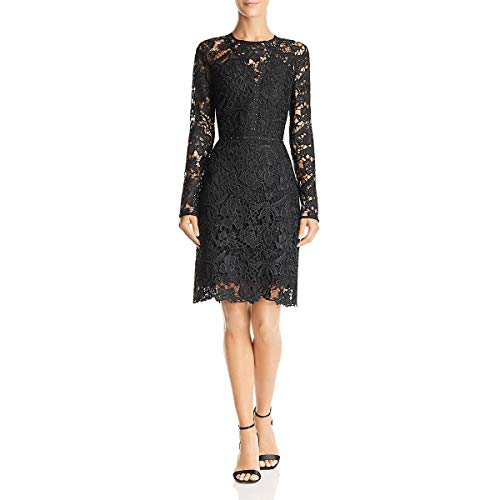 Sam Edelman Women's Lace Dress with Studding Detail, Black, 0