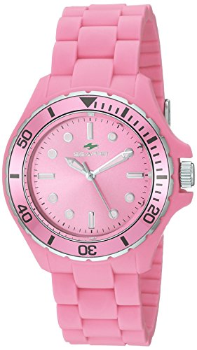 Seapro Women's 'Spring' Quartz Stainless Steel and Silicone Casual Watch, Color:Pink (Model: SP3213)