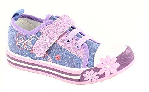 Mädchen Canvas Turnschuhe Pumpen Plimsole Sommer Größe Alter Chatterbox blau pink Sparkle Blue