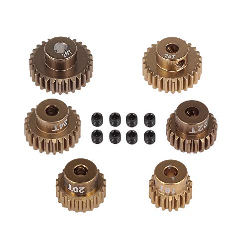 Goolsky 48DP 18T 20T 22T 24T 26T 28T Brush Brushless Motor Pinion Gears Set for 1:10 S CS R31 SCX10 RC Drift Racing Car Off-Road Climber Short Truck