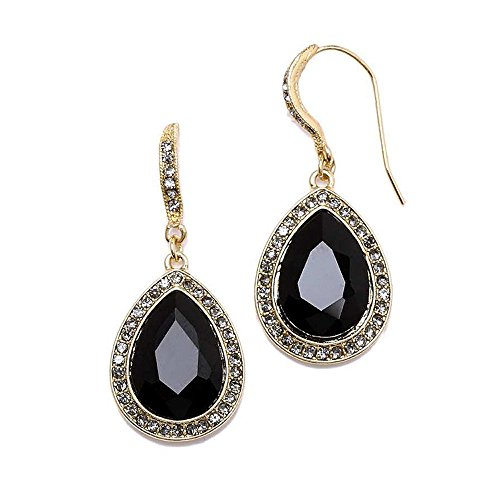 Mariell Top-Selling Gold and Jet Black Crystal Dangle Earrings for Prom, Bridesmaids & Fashion Glamour