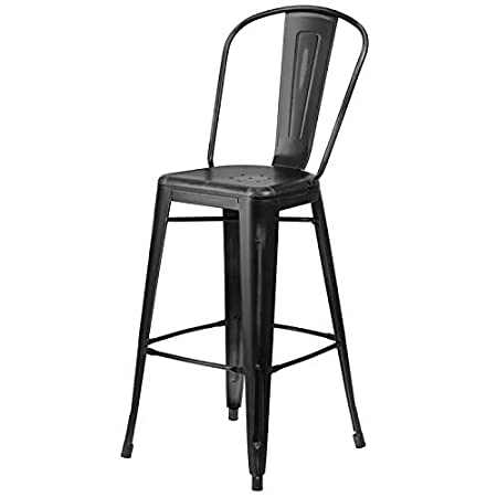 Rajtai Metal Kitchen/Bar / Cafe/Garden Chair in Black Matte Finish Color