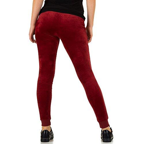 Samt Jogging Hose Für Damen , Rot In Gr. L bei Ital-Design