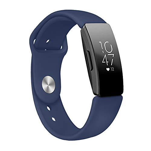 dulawei3 Soft Silicone Watchband Watch Strap Band Fashion Wristband Wrist Replacement for Fitbit Inspire HR Smart Bracelet Navy Blue