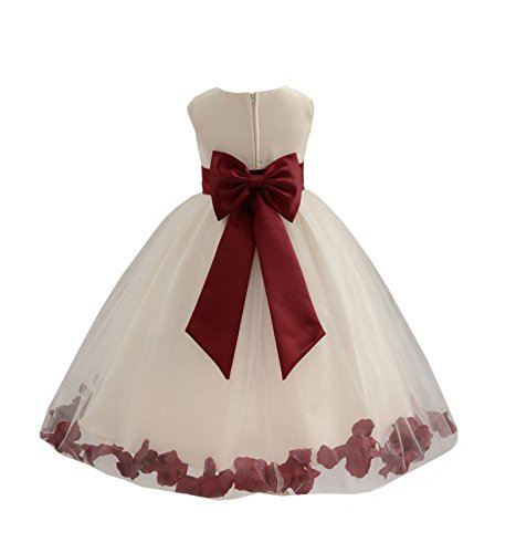 Wedding Pageant Flower Petals Girl Ivory Dress with Bow Tie Sash 302a 12