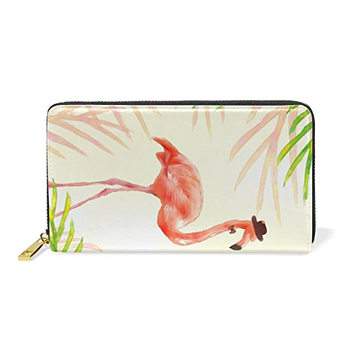 Leather Purse Wallet for Women Long Zipper Clutch Wallet with Watercolor Couple Flamingo Phone Passport Checkbook Card Holder Handbags by THENAGD