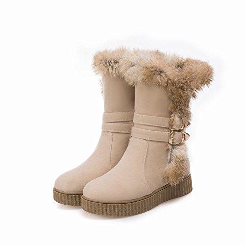 Mee Shoes Damen Nubukleder Reißverschluss runde Schneestiefel Beige
