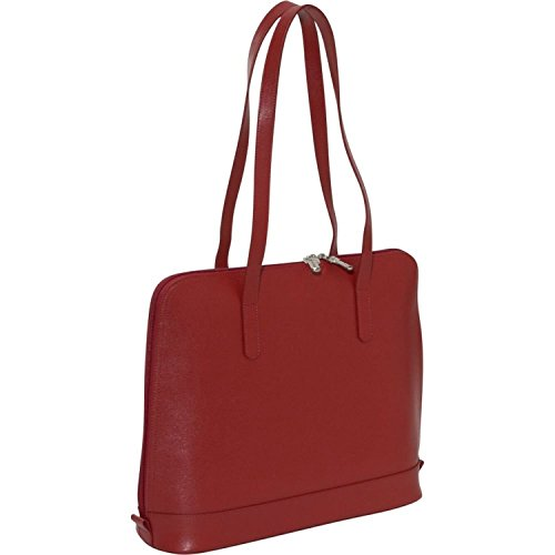 Jack Georges Womens [Personalized Initials Embossing] Chelsea Manhattan Business Tote in Red by Jack Georges