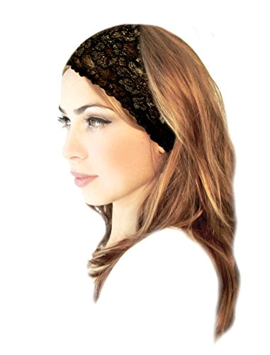 Beautiful Handmade Lace - ShariRose Stunning Stretch Wide Floral Lace Head-Bands in Many Beautiful Colors Handmade (Black Gold Bronze)