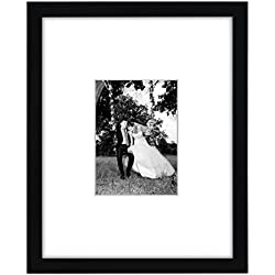 Americanflat 11x14 Black Picture Frame - Display Pictures 5x7 with Mat - Display Pictures 11x14 Without Mat - Protective Glass Covering Front