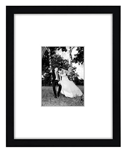41ATHvGozyL - 11x14 Black Wall Picture Frame - Matted to Fit Pictures 5x7 Inches or 11x14 Without Mat - Protective Glass Covering Front