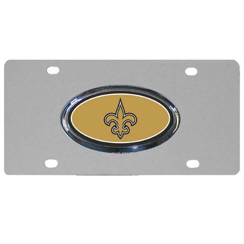 (NFL New Orleans Saints Steel License Plate with Raised Logo)