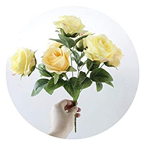 7 Heads/Bunch Silk French Rose Artificial Flower Bouquet Wedding Bridal Flower Home Party Decorations Table Accessory,Yellow 55
