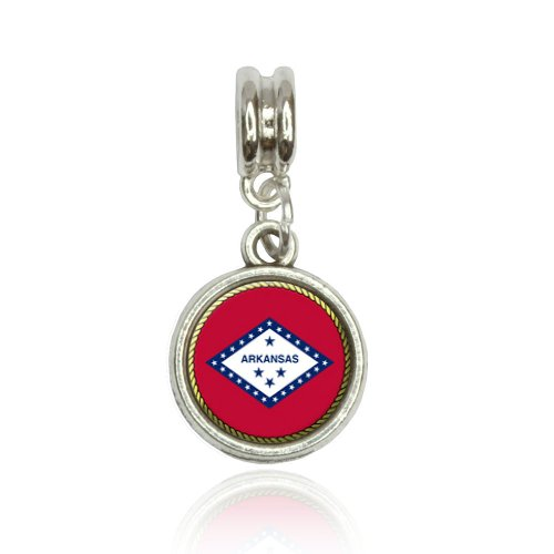 Arkansas Italian Charm - Arkansas State Flag Euro European Italian Style Bracelet Bead Charm