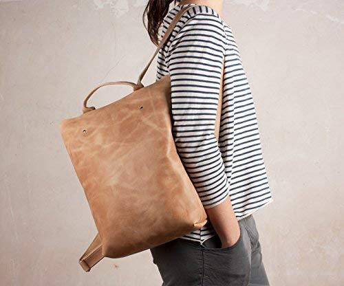 Mochila marrón claro, mochila cuero cremallera, mochila anti robo, mochila ciudad, mochila