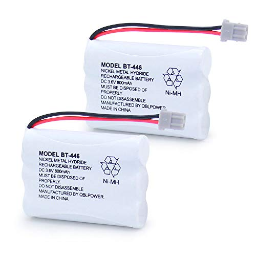 QBLPOWER BT446 BT-446 Cordless Phone Battery BP-446 BP446 BBTY0503001 BT-1004 BT-1005 Compatible with Uniden Telephone GE-TL26402 BT-504 CPH-488B Rechargeable 3.6V 800mAh Ni-MH (2 Pack)