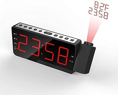 Reloj Despertador de proyección, Radio LED Grande de FM Digital Proyector de Techo Reloj Despertador con 3 alarmas, función de repetición, Pantalla ...