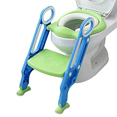 Potty Toilet Trainer Seat with Step Stool Ladder Adjustable Baby Toddler Kid Potty Toilet Seat for Boy and Girl Children's Toilet Training Seat Chair