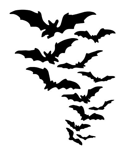 Our Bats Halloween Decorations Wall Decals are Vinyl Wall Decals displaying bats for your Halloween decor. These scary bat decorations look great on windows, walls, or candy bowls.]()