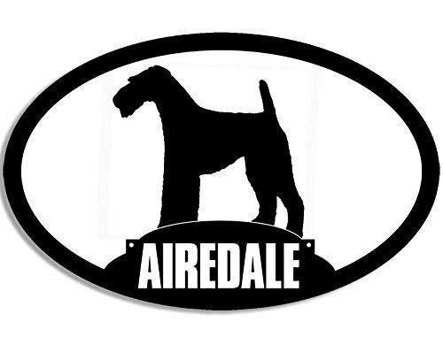MAGNET 3x5 inch Oval Airedale Silhouette Sticker (Dog Breed) Magnetic vinyl bumper sticker sticks to any metal fridge, car, signs ()