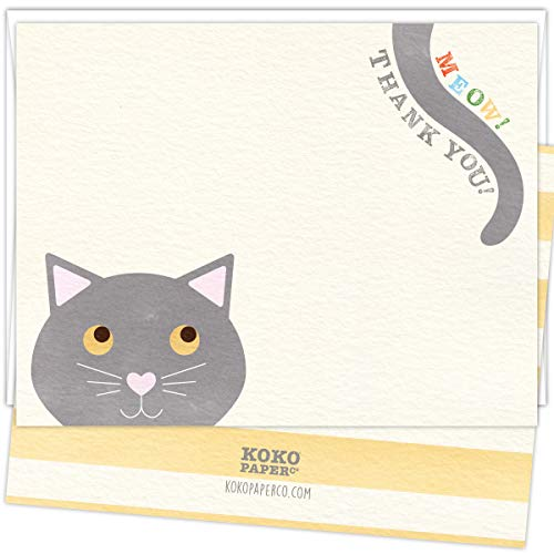 Koko Paper Co Meow! Thank you! Cat Thank You Cards. Set of 25 Cards and White Envelopes. Puur-fect Way to Say Thank You! - Card Bengals