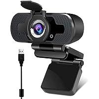 Webcam 1080P Full HD con Micrófono Incorporado y Cubierta de Privacidad Cámara Web Mini USB Plug Play Webcam para Video…