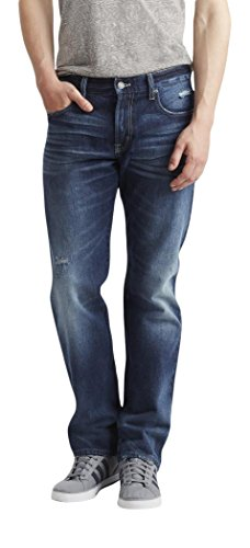 Aeropostale Men's Straight Medium Wash Destroyed Jean 30 Dark Wash