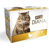 Eco Diana Complete Food for Cats, 12 pouches of 100g, Chunks with Chicken in Gravy