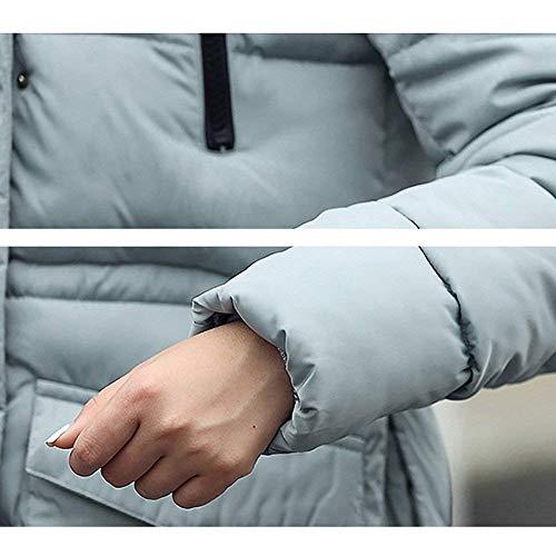 Chaqueta Manga Exteriores Plumas Bolsillos Moda Acolchada Modernas Prendas Color Abrigo con Cremallera Larga Grau Mujer Sólido Delanteros Elegante Invierno Joven 404wgxqr